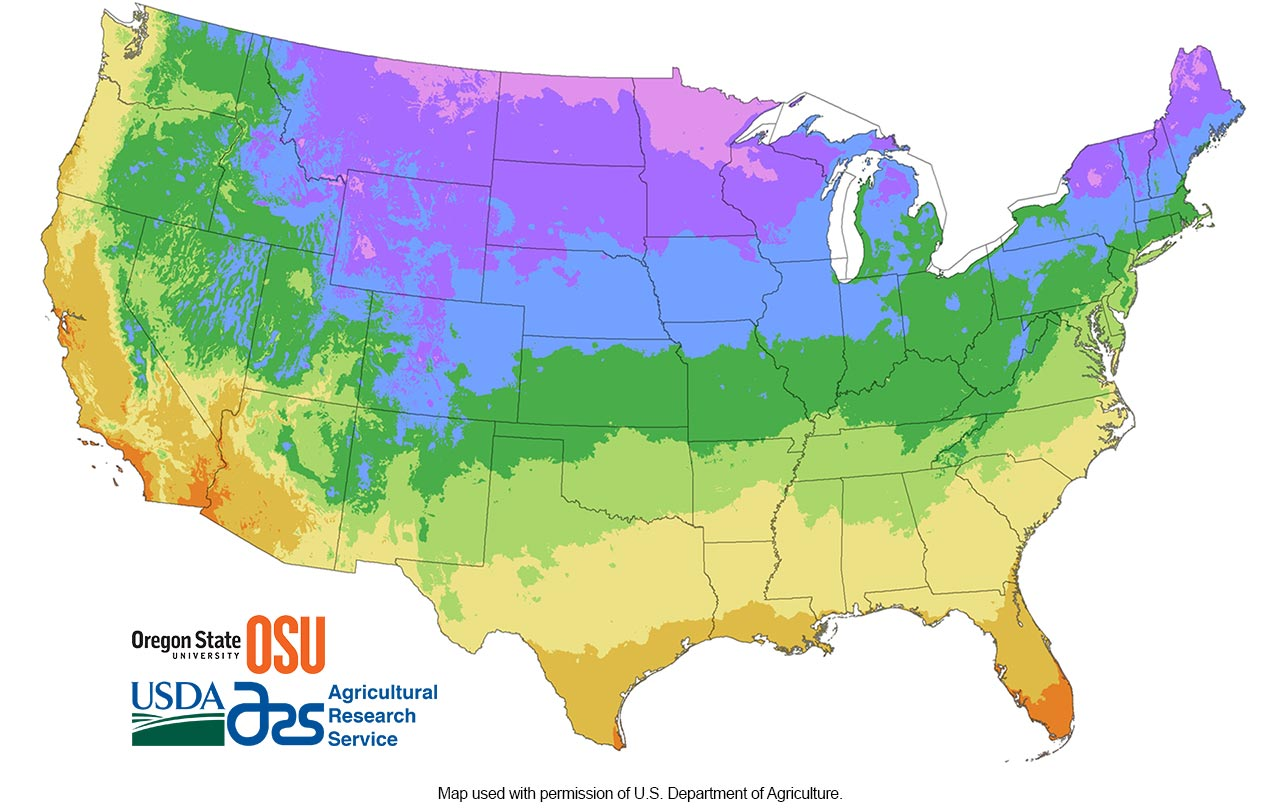 Climate Zones Chill Hours Planting Care Tomorrows Harvest - Us map climate zones