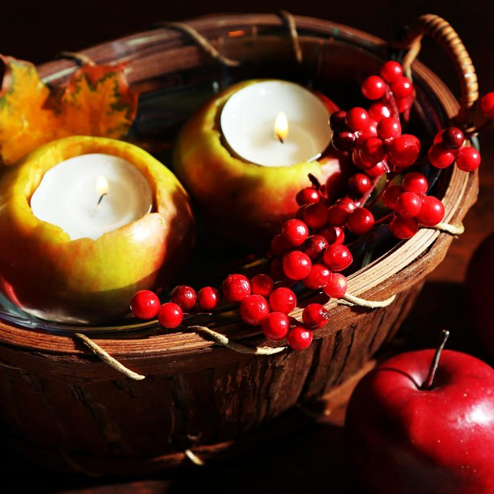 DIY Harvest Apple Tea Light Candle Holders