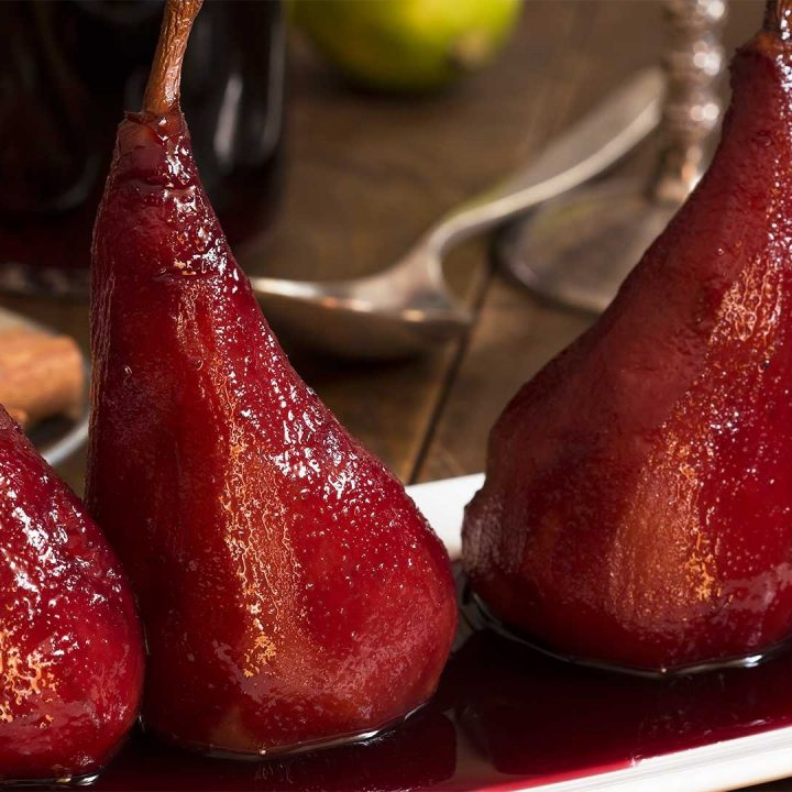 Pears Poached in Red Wine - A Great Recipe to impress guests at your next Holiday party.